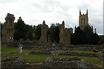 TL8564 : Bury St Edmunds: the Cathedral from the Abbey ruins by Christopher Hilton