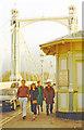 TQ2777 : London (Chelsea), 1988: north end of Albert Bridge, with its strange notice by Ben Brooksbank
