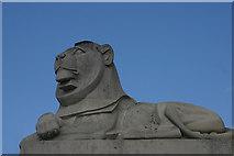 TQ7668 : Monumental lion, Naval Memorial, Chatham by David Kemp