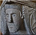 SX2281 : Altarnun: St. Nonna's Church: One of the four faces on the Norman font by Michael Garlick