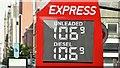 J3373 : Fuel price sign, Belfast (27 September 2015) by Albert Bridge