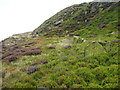 SE0711 : Blocks of stone next to a quarry track, Lingards by Humphrey Bolton
