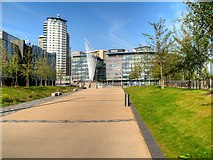 SJ8097 : Path to Trafford Wharf and MediaCityUK by David Dixon