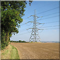 TL5444 : A pylon by the Icknield Way Path by John Sutton
