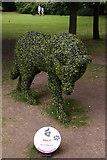 TL8564 : Wolf sculpture, Bury St Edmunds Abbey Gardens by Christopher Hilton
