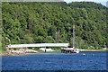 NM6845 : Lochaline Silica Sand Mine conveyor from the Lochaline Ferry by Jo Turner