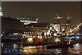 TQ3380 : HMS Belfast at Night by Christine Matthews
