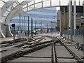 SJ8498 : Manchester Victoria station:tram tracks by Stephen Craven