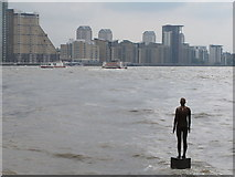 """TQ3680 : Gormley sculpture """"Another Time"""" in The Thames at Limehouse by David Hawgood"""