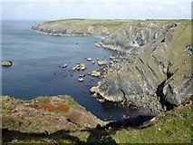 SW6615 : George's Cove and the cliffs to the north by David Smith