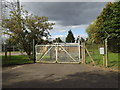 TM1164 : Gates to the Electricity Sub-Station off Tower Lane by Adrian Cable