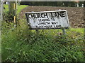 TM1159 : Church Lane sign by Adrian Cable