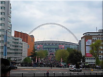 TQ1985 : Wembley Stadium's Olympic Way viewed from Wembley Park Underground by Matthew Cotton