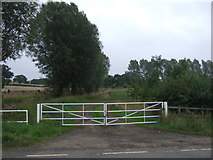 TM0956 : Gated farm track near Creeting St.Mary by JThomas