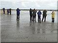 NU2614 : Birdwatchers on Boulmer Beach by Oliver Dixon