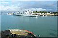 SU6301 : Whale Island and HMS Bristol by Anne Burgess