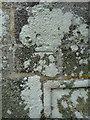 SW6128 : OS benchmark & bolt - Breage, St Breaca's church by Richard Law
