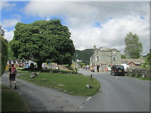 NY3204 : Elterwater village – the village centre with the maple tree and inn by Peter S