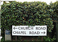TM0220 : Church Road & Chapel Road signs by Adrian Cable
