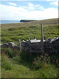 HY6823 : Stronsay: stile on the coast path by Chris Downer
