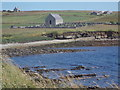 ND3693 : Flotta: the kirk from across the head of Kirk Bay by Chris Downer