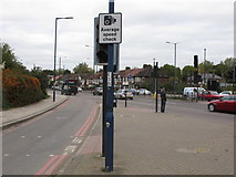 TQ2081 : Average speed check warning sign, A40 Western Avenue by David Hawgood