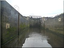 SE5726 : West Haddlesey Flood Lock [top gates closed] by Christine Johnstone