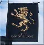 NZ0516 : Sign for the Golden Lion, Barnard Castle by JThomas