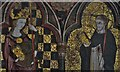 TM1072 : Thornham Parva: St. Mary's Church: The retable (ca 1335) detail 6, St. Margaret and St. Peter the Martyr by Michael Garlick