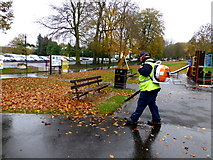 H4573 : Blowing fallen leaves, Omagh by Kenneth  Allen