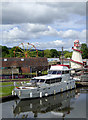 SO8071 : Moored motor yacht in Stourport Lower Basin, Worcestershire by Roger  Kidd