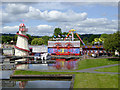 SO8071 : Canal basin and funfair in Stourport Worcestershire by Roger  Kidd