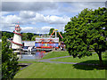 SO8071 : Parkland and funfair by Stourport Basins, Worcestershire by Roger  Kidd