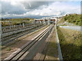 TQ6174 : The North Kent Line crosses HS1 near Ebbsfleet International by Marathon