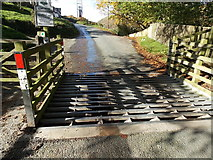 SO4494 : Grid across the southern entrance to the National Trust Long Mynd site, Church Stretton by Jaggery