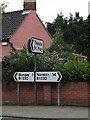 TM3390 : Roadsigns on the B1332 Norwich Road by Adrian Cable