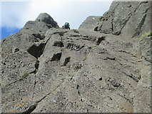 NY2807 : Rocky slabs near the top of Jack's Rake by Peter S