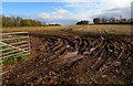 SJ7508 : Muddy field entrance north of Shifnal by Jaggery