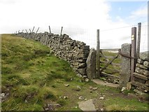 SE0076 : Gate in the dry stone wall between Whernside and Little Whernside by Graham Robson