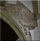 TM1273 : Yaxley; St. Mary the Virgin Church: Traces of a doom painting to the right of the chancel arch by Michael Garlick