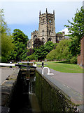 SO8276 : Lock and church in Kidderminster, Worcestershire by Roger  Kidd