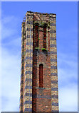 SO8276 : Slingfield Mill chimney (detail) in Kidderminster, Worcestershire by Roger  Kidd