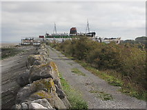 SJ1779 : On the Wales Coast Path heading towards the beached ship Duke of Lancaster at Llannerch-y-mor by Colin Park