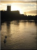 SO8454 : Worcester Cathedral silhouetted at sunrise by Philip Halling