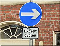J3372 : One-way street (except cycles) sign, University Square, Belfast (December 2015) by Albert Bridge