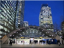 TQ3780 : Canary Wharf tube station, Jubilee Line - west entrance by Mike Quinn