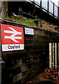 SJ7905 : Cosford railway station name sign by Jaggery