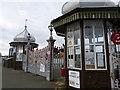 SH5873 : Bangor Pier gates by Oliver Mills
