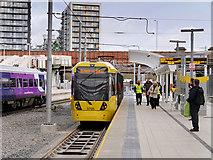 SJ8499 : Tram Leaving Platform D, Manchester Victoria Station by David Dixon