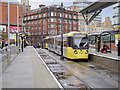 SJ8498 : Inbound Tram at Shudehill by David Dixon